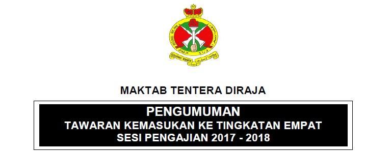 Permohonan Kemasukan Maktab Tentera Diraja 2018
