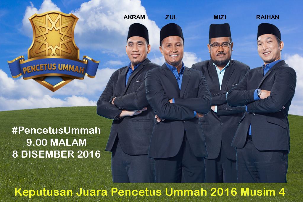 Keputusan Juara Pencetus Ummah 2016 Musim 4